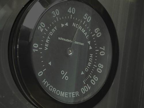 Hygrometer - Hygrometer (zwart) in bovenste zone